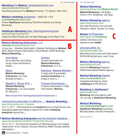 SERP or search engine results page. Medical website SEO and website optimization.